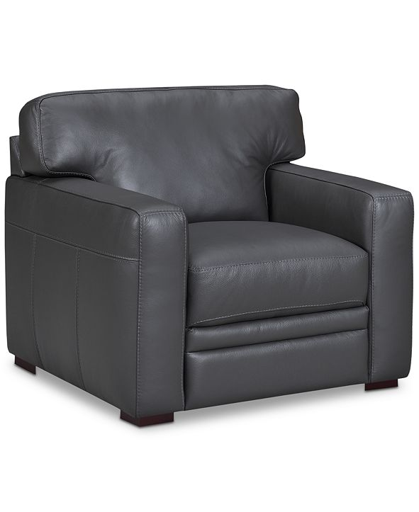 """Furniture Avenell 39"""" Leather Armchair, Created for Macy's"""