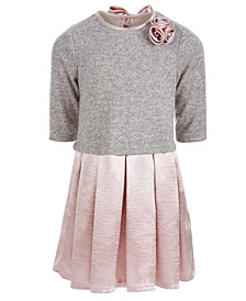 Bonnie Jean Toddler Girls Layered-Look Satin Sweater Dress