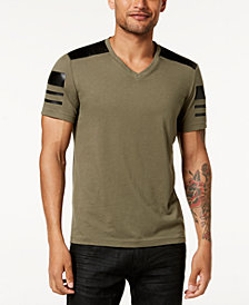 I.N.C. Men's Faux-Leather Pieced T-Shirt, Created for Macy's
