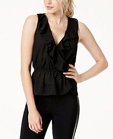 Bar III Ruffle-Trim Surplice Top, Created for Macy's