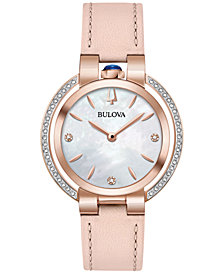 Bulova Women's Rubaiyat Diamond (1/5 ct. t.w.) Pink Leather Strap Watch 35mm