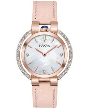 BULOVA Women'S Rubaiyat Diamond (1/5 Ct. T.W.) Pink Leather Strap Watch 35Mm in White/Pink