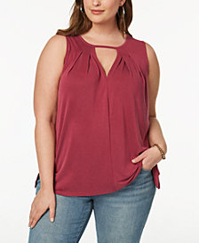 Lucky Brand Trendy Plus Size High-Low Trapeze Top