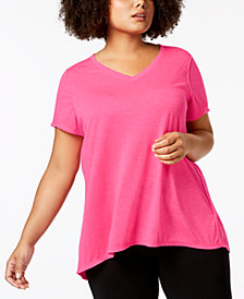 Calvin Klein Performance Plus Size Draped-Back Top