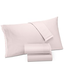 CLOSEOUT! Lucky Brand Cotton Sateen 230-Thread Count 4-Pc. Fringe California King Sheet Set, Created for Macy's