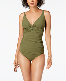 Profile by Gottex Shirred Tummy-Control Tankini Top & High-Waist Bikini Bottoms