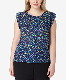 Tahari ASL Plus Size Printed Flutter-Sleeve Top