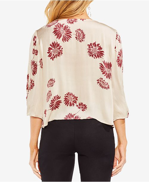 4 Printed Vince Rich Sleeve Cream Top 3 Camuto 5rpqwrt