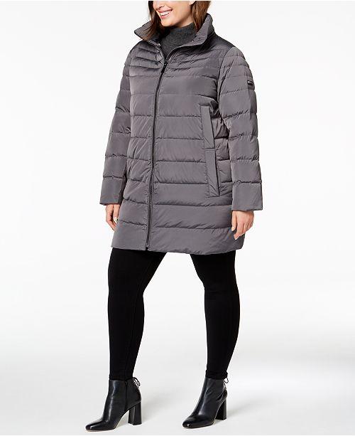 4aecd8d2a1a DKNY Plus Size Faux-Fur-Trim Puffer Coat   Reviews - Coats - Women ...