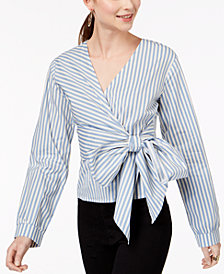 Say What? Juniors' Striped Faux-Wrap Top