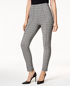 I.N.C. Glen Plaid Smoothing Leggings, Created for Macy's