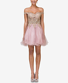 Dancing Queen Juniors' Off-The-Shoulder Lace Fit & Flare Dress
