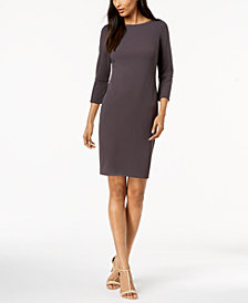 Calvin Klein Split-Sleeve Scuba Sheath Dress, Regular & Petite
