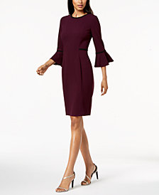 Calvin Klein Piped Bell-Sleeve Sheath Dress, Regular & Petite