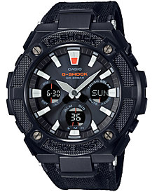 G-Shock Men's Solar Analog-Digital G-Steel Black Cordura & Leather Strap Watch 52mm