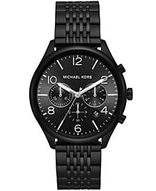 Men's Chronograph Merrick Black Stainless Steel Bracelet Watch 42mm