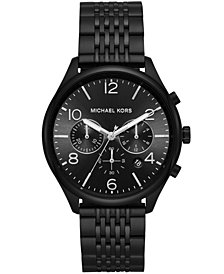 Michael Kors Men's Chronograph Merrick Black Stainless Steel Bracelet Watch 42mm