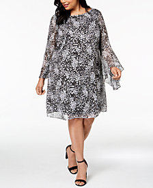 Jessica Howard Plus-Size Printed Bell-Sleeve Dress