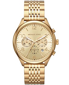 Michael Kors Men's Chronograph Merrick Gold-Tone Stainless Steel Bracelet Watch 42mm