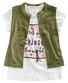 Belle Du Jour Big Girls 3-Pc. Vest, T-Shirt & Necklace Set