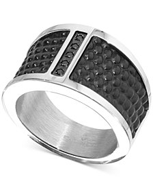Men's Diamond Accent Leather Band in Stainless Steel