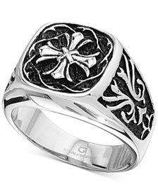 Men's Celtic Cross Ring in Stainless Steel & Black Ion-Plate