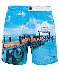 BOSS Men's Graphic-Print Swim Shorts