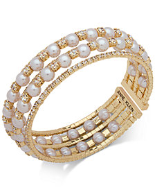 Anne Klein Gold-Tone Crystal & Imitation Pearl Multi-Row Cuff Bracelet