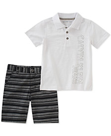 Calvin Klein Toddler Boys 2-Pc. Polo Shirt & Striped Shorts Set