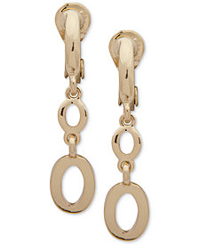 Anne Klein Gold-Tone Link E-Z Comfort Clip-On Double-Drop Earrings