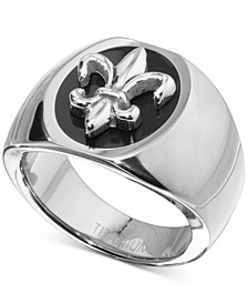 Men's Fleur-de-Lis Statement Ring in Sterling Silver & Black Ion-Plate