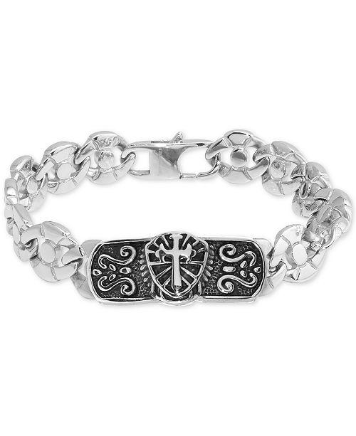 Macy's Men's Cross Plate Circle Link Bracelet in Stainless Steel & Black Ion-Plate