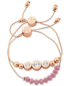GUESS Rose Gold-Tone 2-Pc. Set Crystal & Bead Slider Bracelets
