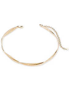 "Reversible Braided Choker Necklace in 14k Gold over Sterling Silver, 12"" + 3"" extender"