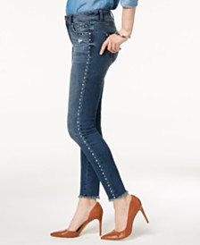 I.N.C. Curvy-Fit Studded Frayed-Hem Skinny Jeans, Created for Macy's