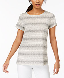 Eileen Fisher Recycled Cotton Blend Striped T-Shirt; Regular & Petite