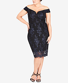 City Chic Trendy Plus Size Floral-Lace Off-The-Shoulder Dress