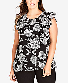 City Chic Trendy Plus Size Ruffled-Sleeve Top
