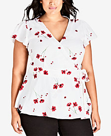City Chic Trendy Plus Size Miss Poppy Printed Wrap Top