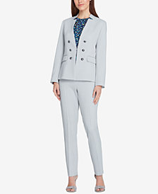 Tahari ASL Petite Faux-Double-Breasted Blazer & Extended-Tab Trousers