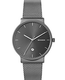 Skagen Men's Ancher Gray Stainless Steel Mesh Bracelet Watch 40mm
