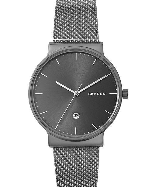 Skagen Men's Ancher Gray Stainless Steel Mesh Bracelet Watch 40mm