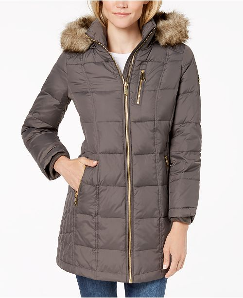 f78a89e27e7 Michael Kors Petite Faux-Fur-Trim Puffer Coat   Reviews - Coats ...
