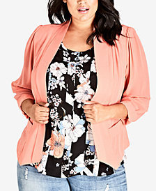 City Chic Trendy Plus Size Draped Blazer