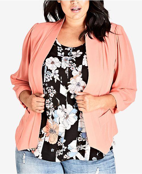 00719a7c42f79 City Chic Trendy Plus Size Draped Blazer & Reviews - Jackets ...