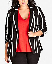 City Chic Trendy Plus Size Striped Suit Up Jacket