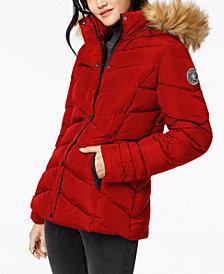Madden Girl Juniors' Faux-Fur-Trim Puffer Coat