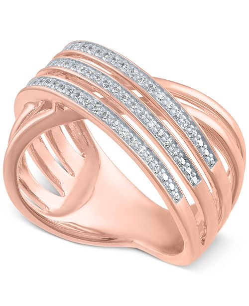 Macy's Diamond Crisscross Statement Ring (1/4 ct. t.w.)
