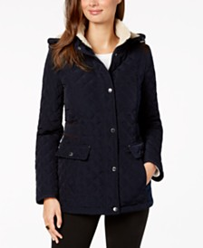 Laundry by Shelli Segal Fleece-Lined Hooded Quilted Jacket