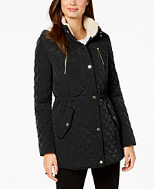 Laundry by Shelli Segal Fleece-Lined Hooded Anorak Coat